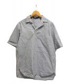 ()の古着「ストライププルオーバーシャツ 半袖」|ブルー