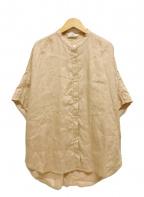 IENA(イエナ)の古着「リネンドルマンシャツ ワイド 半袖」|ベージュ