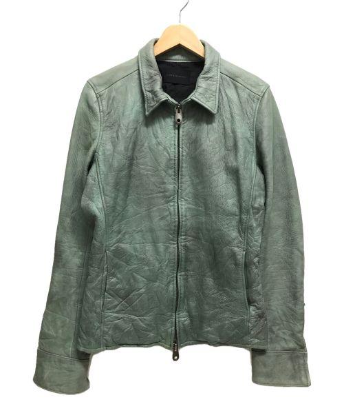 Junhashimoto(ジュンハシモト)Junhashimoto (ジュンハシモト) ウォッシャブルカウレザージャケット グリーン サイズ:3の古着・服飾アイテム