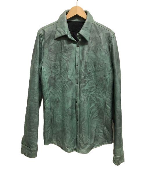 Junhashimoto(ジュンハシモト)Junhashimoto (ジュンハシモト) ウォッシャブルカウレザーシャツジャケット グリーン サイズ:XLの古着・服飾アイテム
