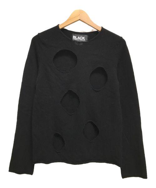 BLACK COMME des GARCONS(ブラックコムデギャルソン)BLACK COMME des GARCONS (ブラックコムデギャルソン) ホールデザインニット ダメージ加工 ブラック サイズ:Sの古着・服飾アイテム