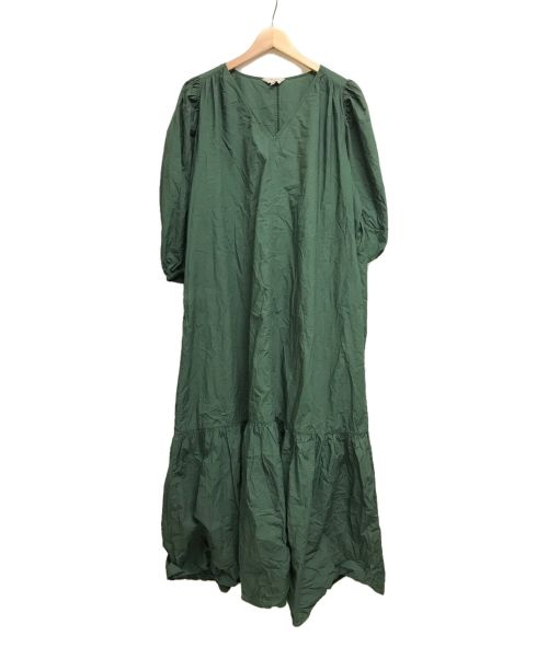 M(エム)M (エム) Vネックバルーンスリーブワンピース グリーン サイズ:2の古着・服飾アイテム