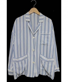 MACPHEE(マカフィー)の古着「ストライプテーラードジャケット」|ブルー×ホワイト