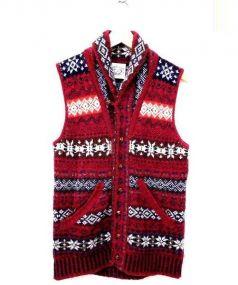 Jamieson's(ジャミーソンズ)の古着「ショールカラーニットベスト」|ボルドー