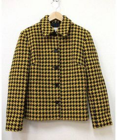 CELINE(セリーヌ)の古着「千鳥格子柄ツイードジャケット」 ブラック×イエロー