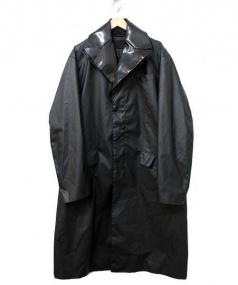 PRADA(プラダ)の古着「PU加工ダブルラペルコート」|ブラック