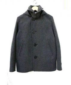 ORCIVAL(オーチバル)の古着「メルトンシングルフードPコート」|グレー