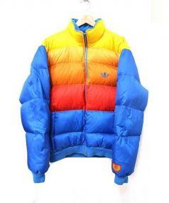 adidas originals(アディダスオリジナル)の古着「クレイジーパターンダウンジャケット」 ブルー×オレンジ
