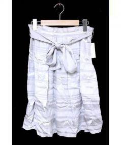 NATURAL BEAUTY(ナチュラルビューティー)の古着「シャドーボーダースカート」 グレー