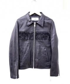LIHUA(リーファー)の古着「フリンジラムレザージャケット」|ブラック