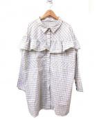 AKANE UTSUNOMIYA(アカネ ウツノミヤ)の古着「フロントフリル総柄ブラウス」|イエロー
