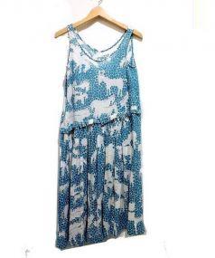 mina perhonen(ミナ ペルホネン)の古着「ノースリーブリネンワンピース」|ホワイト×ブルー