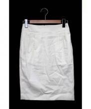 TOMORROWLAND collection(トゥモローランドコレクション)の古着「リネン混フロントタックスカート」|ホワイト