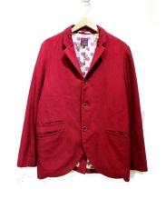 BRU NA BOINNE(ブルーナボイン)の古着「裏地プリントウール3Bジャケット」|レッド