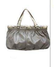 FURLA(フルラ)の古着「切替レザーハンドバッグ」|グレー