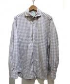 Finamore(フィナモレ)の古着「ホリゾンタルカラーコットンチェックシャツ」 グレー×ホワイト