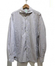 Finamore(フィナモレ)の古着「ホリゾンタルカラーコットンチェックシャツ」|グレー×ホワイト