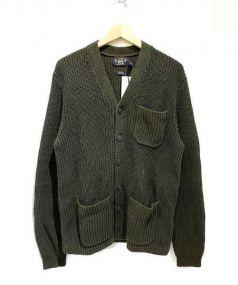 RRL(ダブルアールエル)の古着「畦編みリネン混Vネックカーディガン」 オリーブ