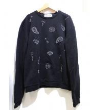 jimi roos(ジミ ルース)の古着「刺繍スウェット」|ブラック