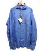 ANGLAIS(アングレー)の古着「ホリゾンタルカラーリネンシャツ」|ブルー
