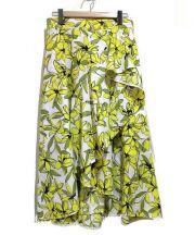 Viaggio Blu(ビアッジョブルー)の古着「ラッフルプリントスカート」|イエロー×ホワイト