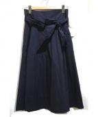 ROPE mademoiselle(ロペマドモアゼル)の古着「ベルト付タックフレアスカート」|ネイビー