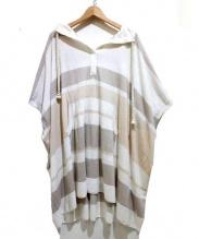 iliann loeb(イリアンローヴ)の古着「フーデッドポンチョワンピース」|ホワイト×ベージュ