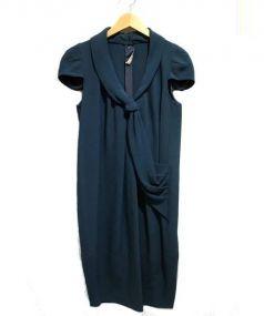 PRADA(プラダ)の古着「パフスリーブデザインワンピース」|グリーン