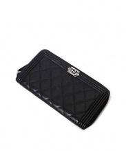 CHANEL(シャネル)の古着「ラウンドファスナー財布」|ブラック