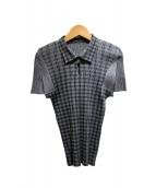 PLEATS PLEASE(プリーツ プリーズ)の古着「プリーツシャツ」|グレー×グリーン