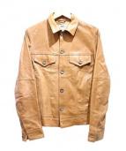 EMMETI(エンメティ)の古着「ラムレザーGジャケット」|ライトブラウン