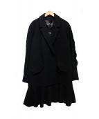 Designers Remix Charlotte Eskildsen(デザイナーズリミックス)の古着「EDIT RUFFLE COAT」|ブラック