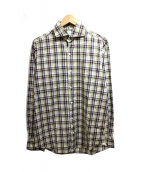 Finamore(フィナモレ)の古着「チェックシャツ」 ブラウン×グリーン