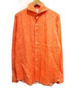Finamore(フィナモレ)の古着「リネンシャツ」 オレンジ