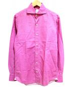 Finamore(フィナモレ)の古着「リネンシャツ」 ピンク