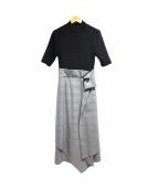 FRAY ID(フレイアイディー)の古着「アシメラップコンビワンピ」|ブラック×グレー