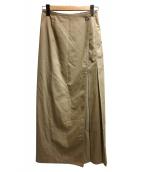 DES PRES(デプレ)の古着「ハイツイストコットンアシンメトリーラップスカート」|ベージュ