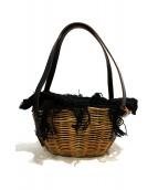 ebagos(エバゴス)の古着「ブライドルレザーバッグ」 ベージュ×ブラック