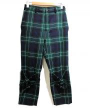BLACK COMME des GARCONS(ブラックコムデギャルソン)の古着「ウールパンツ」|グリーン×ネイビー