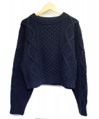 3.1 phillip lim(3.1 フィリップリム)の古着「Cropped Cable-Knit Sweater」|ネイビー