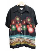 IOLANI(イオラニ)の古着「花火柄アロハシャツ」|ブラック