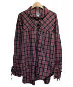 AIE(アーツインエデュケーション)の古着「プルオーバーチェックシャツ」|レッド