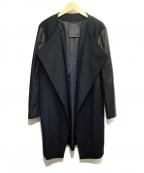 Rawtus(ロゥタス)の古着「カシミヤ混ノーカラーコート」 ブラック