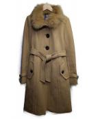 BURBERRY BLUE LABEL(バーバリーブルーレーベル)の古着「ファー付スタンドカラーコート」|ベージュ