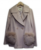 LAISSE PASSE(レッセパッセ)の古着「アンゴラ混ダブルコート」|ピンク