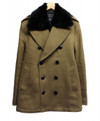 BURBERRY BLACK LABEL(バーバリーブラックレーベル)の古着「襟ファー付Pコート」|オリーブ