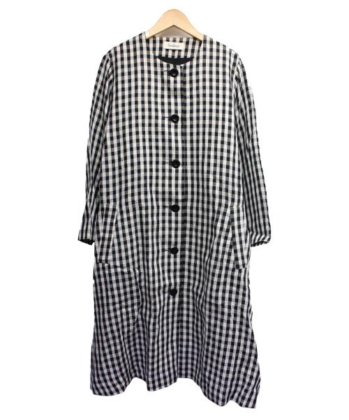 SARAHWEAR(サラウェア)SARAHWEAR (サラウェア) リネンコート ホワイト×ブラック サイズ:表記無しの古着・服飾アイテム