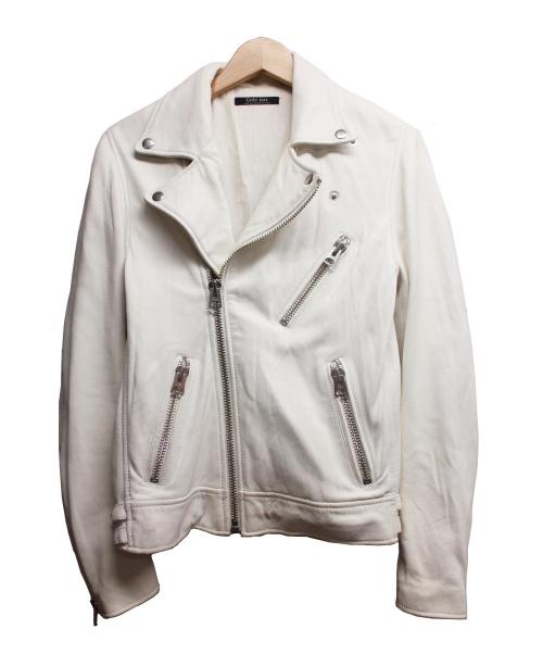 Cathy Jane(キャシー ジェーン)Cathy Jane (キャシー ジェーン) ラムレザーライダースジャケット ホワイト サイズ:1の古着・服飾アイテム