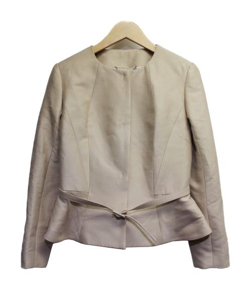 CELFORD(セルフォード)CELFORD (セルフォード) シルクコットンノーカラージャケット ベージュ サイズ:36の古着・服飾アイテム