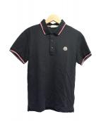 MONCLER(モンクレール)の古着「ライン鹿の子ポロシャツ」|ブラック